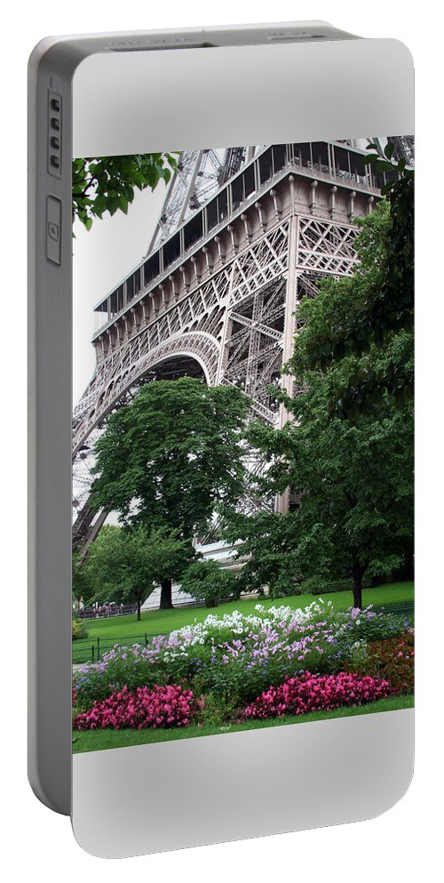 Eiffel Portable Battery Charger featuring the photograph Eiffel Tower Garden by Margie Wildblood