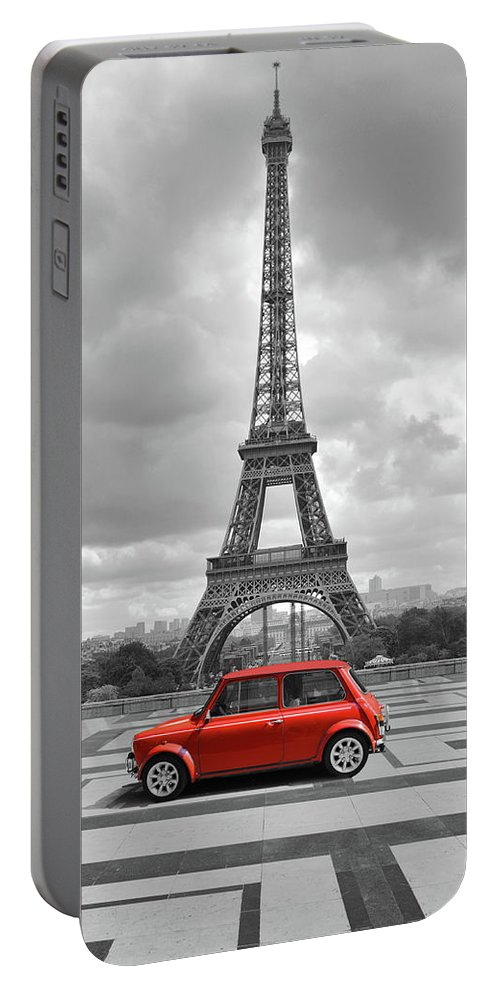 White Portable Battery Charger featuring the digital art Eiffel Tower With Car. Black And White Photo With Red Element. by Cranach Studio