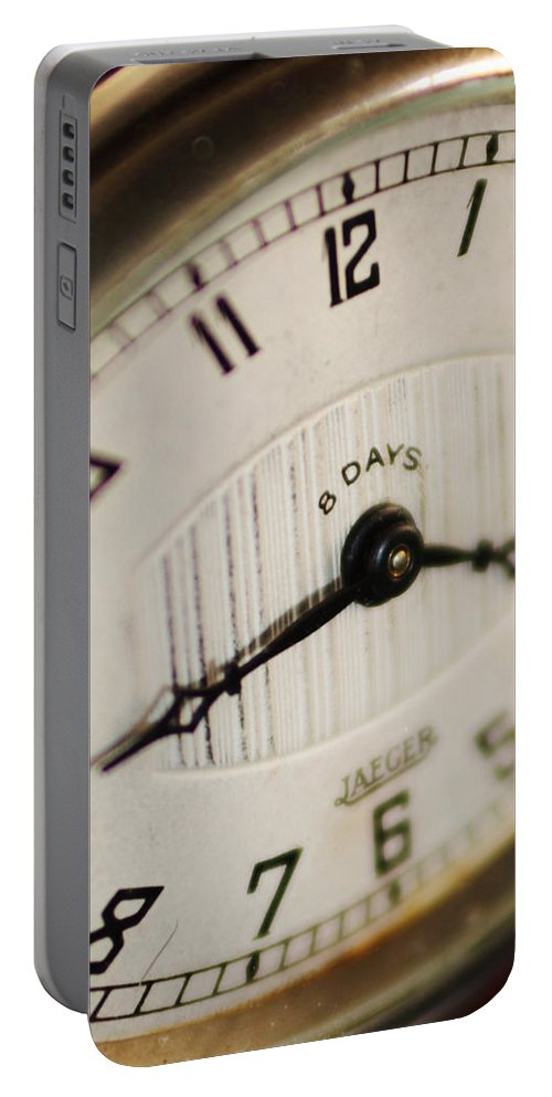 Clock Portable Battery Charger featuring the photograph Eight Days A Week Clock by Jill Reger