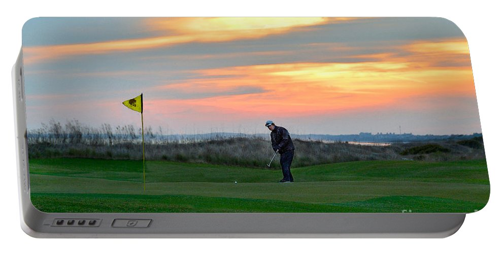 Golf Course Portable Battery Charger featuring the photograph Eighteenth Green At Sunset by Catherine Sherman