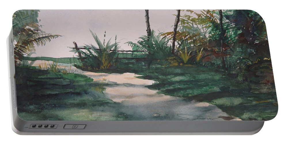 Puerto Rico Portable Battery Charger featuring the painting El Camino De La Manana by Don Seib