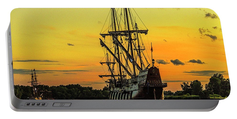 Tall Ship Portable Battery Charger featuring the photograph El Galeon Andalucia 4 by Tom Clark
