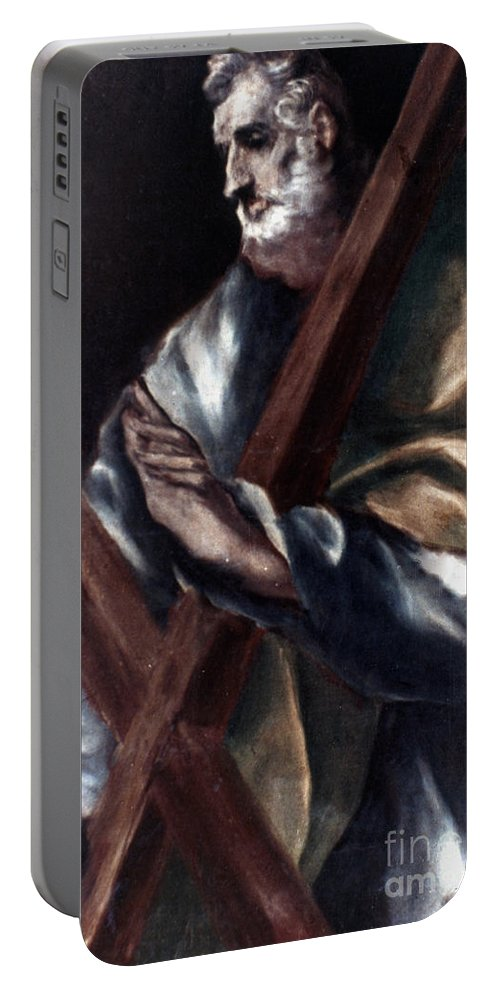 Andrew Portable Battery Charger featuring the painting El Greco: St. Andrew by Granger