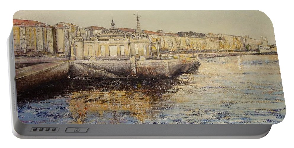 Santander Portable Battery Charger featuring the painting El Palacete-santander by Tomas Castano