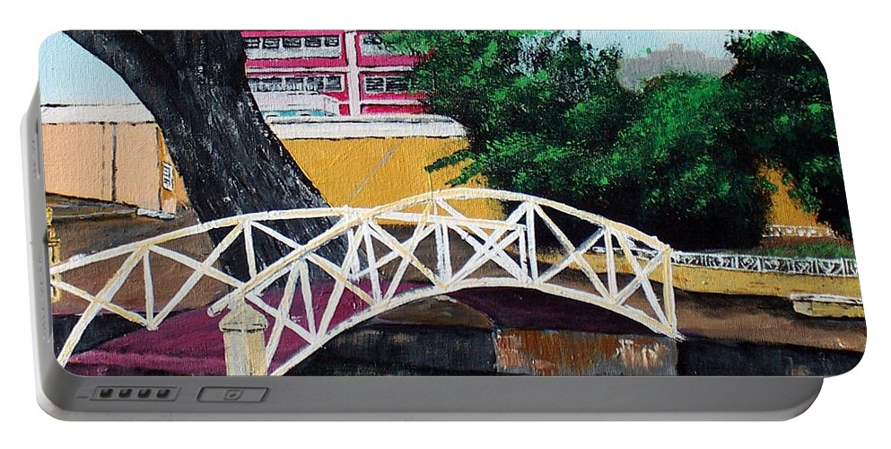 Aguadilla Portable Battery Charger featuring the painting El Parterre by Luis F Rodriguez