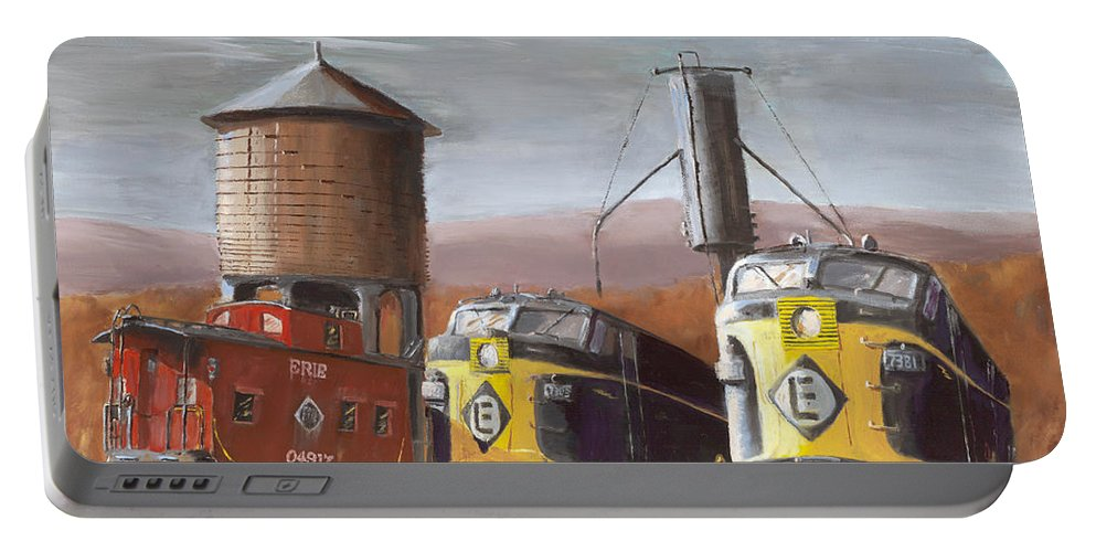 Erie Portable Battery Charger featuring the painting El Power by Christopher Jenkins