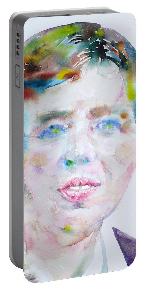 Eleanor Roosevelt Portable Battery Charger featuring the painting Eleanor Roosevelt - Watercolor Portrait by Fabrizio Cassetta