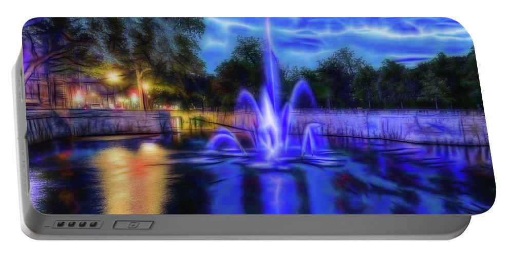 Fountain Portable Battery Charger featuring the photograph Electric Fountain by Scott Carruthers