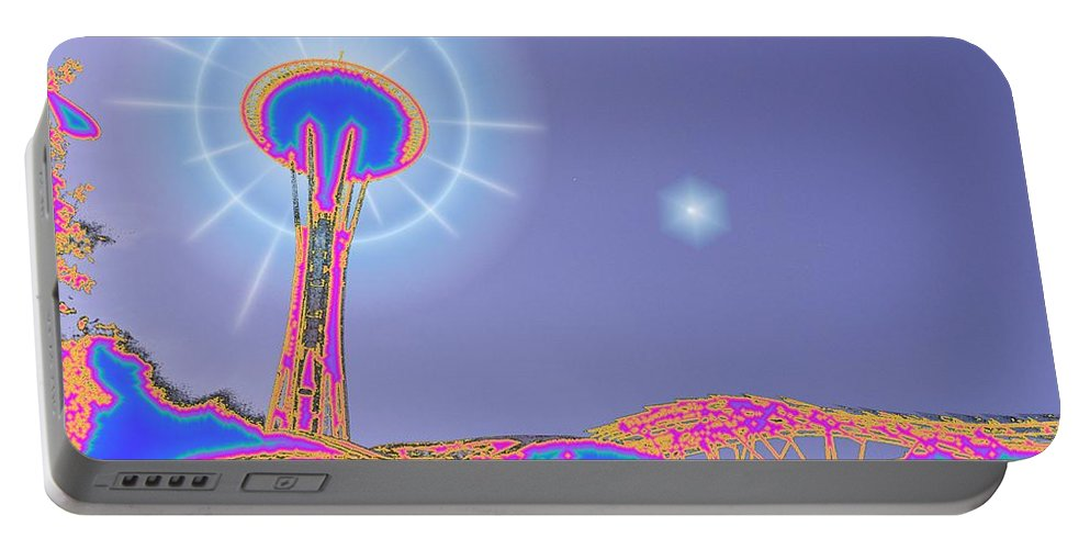 Seattle Portable Battery Charger featuring the photograph Electric Needle by Tim Allen