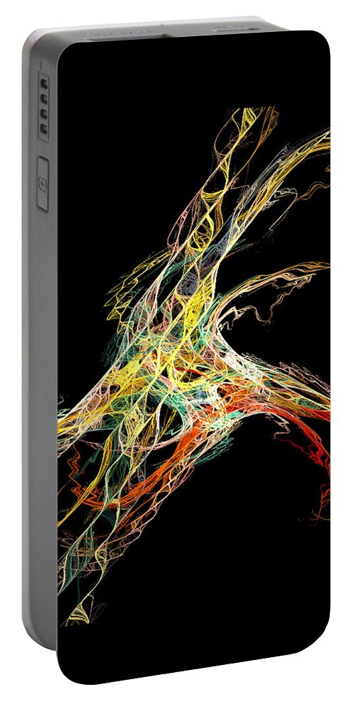 Abstract Portable Battery Charger featuring the digital art Electric Shock by Andrea Lawrence