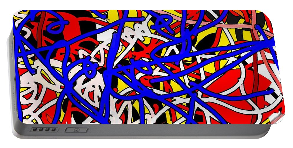 Abstract Portable Battery Charger featuring the digital art Electro by Yilmar Henry