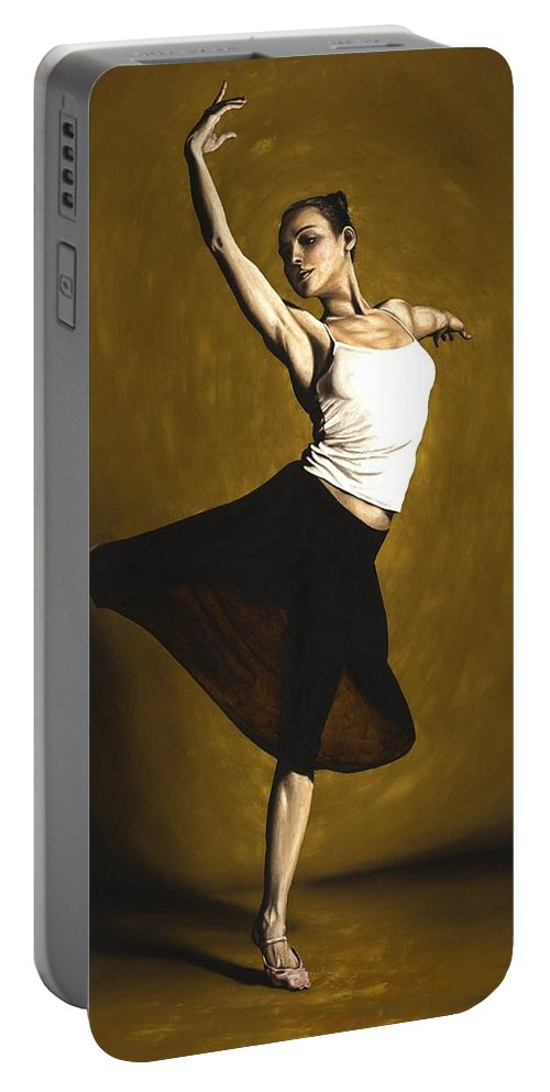 Elegant Portable Battery Charger featuring the painting Elegant Dancer by Richard Young
