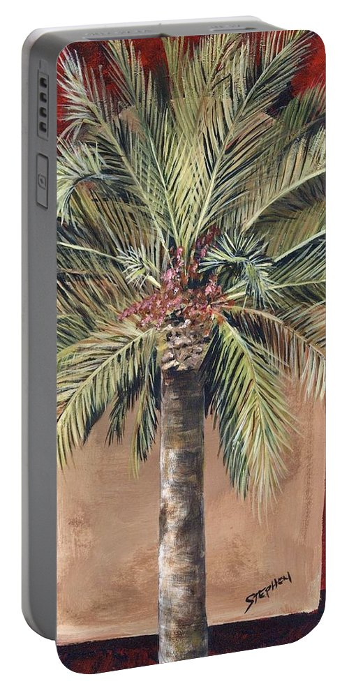 Regal Palm Portable Battery Charger featuring the painting Elegant Palm by Stephen Broussard