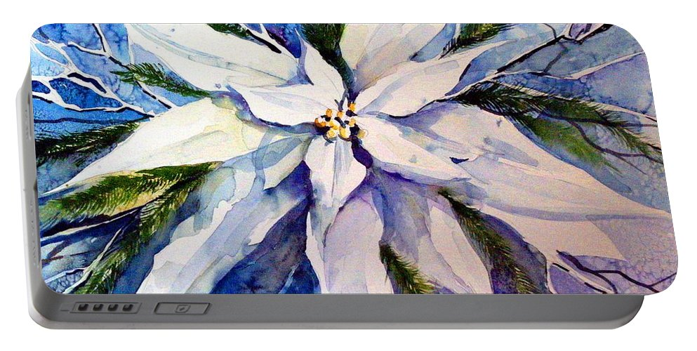 Christmas Portable Battery Charger featuring the painting Elegant White Christmas by Mindy Newman