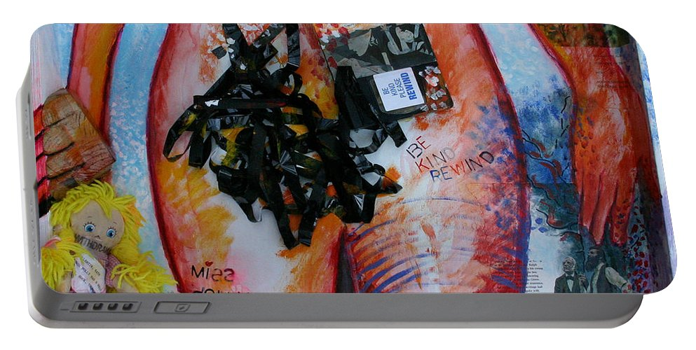 Painting Portable Battery Charger featuring the painting Elements - Fire by Gideon Cohn