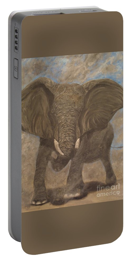 Elephant Portable Battery Charger featuring the painting Elephant Charging by Nick Gustafson
