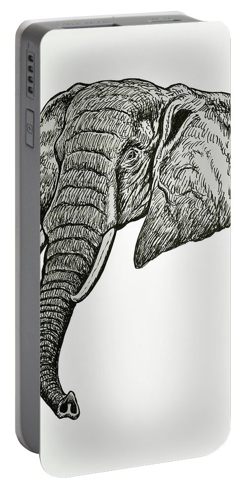 Elephant Portable Battery Charger featuring the drawing Elephant Head by Nicola Fusco