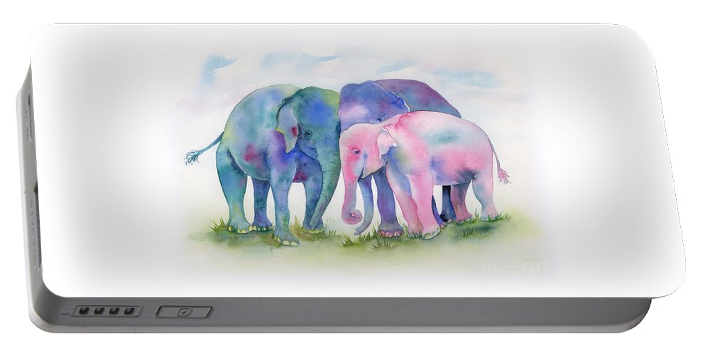 Elephant Portable Battery Charger featuring the painting Elephant Hug by Amy Kirkpatrick