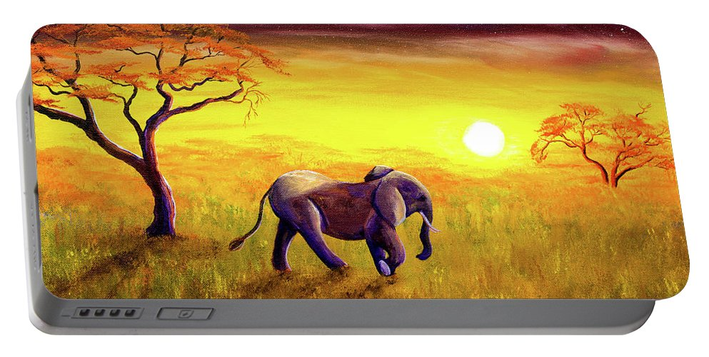 Elephant Portable Battery Charger featuring the painting Elephant In Purple Twilight by Laura Iverson