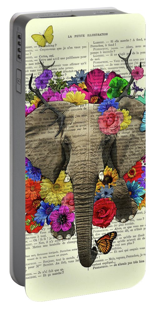 Elephant Portable Battery Charger featuring the digital art Elephant With Colorful Flowers Illustration by Madame Memento