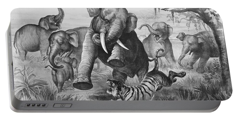 1890 Portable Battery Charger featuring the photograph Elephants And Tiger, 1890 by Granger