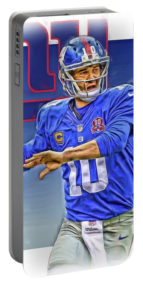 Eli Manning Portable Battery Charger featuring the mixed media Eli Manning New York Giants Oil Art by Joe Hamilton