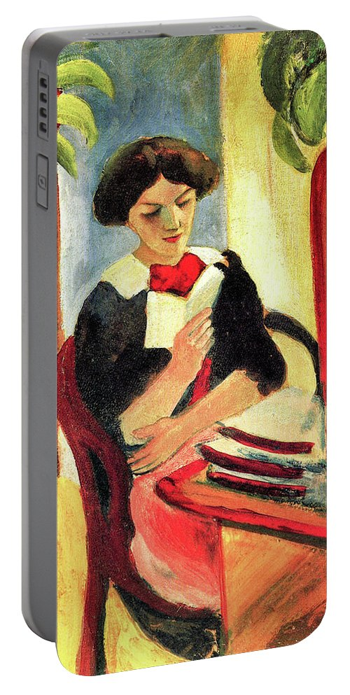 Woman Portable Battery Charger featuring the painting Elisabeth At Her Desk 2 By August Macke by August Macke