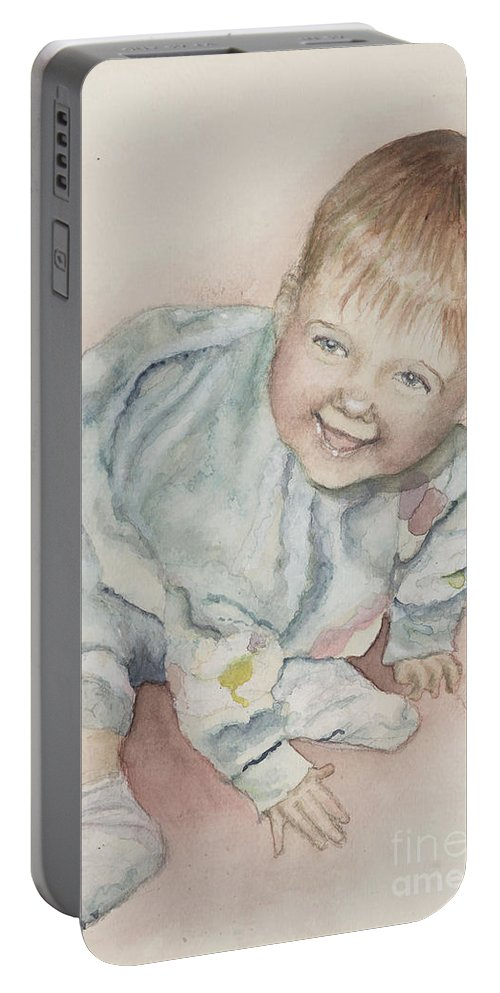 Girl Portable Battery Charger featuring the painting Elise by Nadine Rippelmeyer