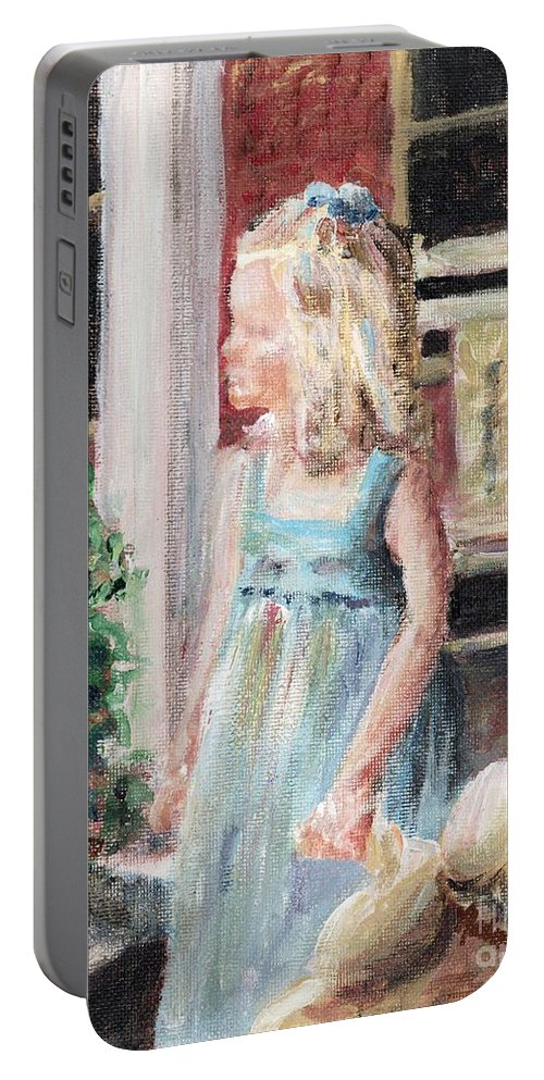 Girl Portable Battery Charger featuring the painting Elizabeth Anne by Nadine Rippelmeyer