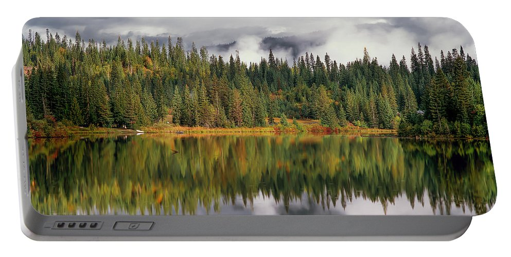Beautiful; Beauty; Clouds; Cloudy; Colorful; Contrast; Elk Lake; Fall; Forest; Horizontal; Idaho; Lake; Lakes; Landscape; Mist; Misty; Moist; Mountain Lake; Mountains; Nature; Ominous; Pines; Rain; Reflection; Reflections; Restful; Scenic; Serene; Serenity; Sky; St. Joe National Forest; Storm; Sunlight; Thunder; Thunder Shower; Water; Weather Portable Battery Charger featuring the photograph Elk Lake by Leland D Howard
