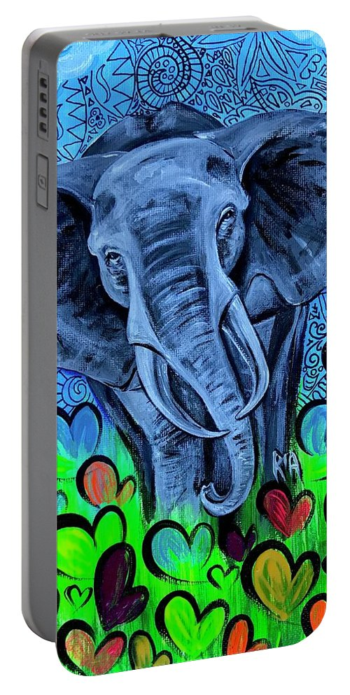 Elephant Portable Battery Charger featuring the painting Elley by Artist RiA