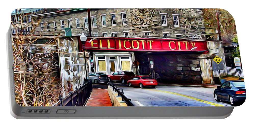 Ellicott Portable Battery Charger featuring the digital art Ellicott City by Stephen Younts