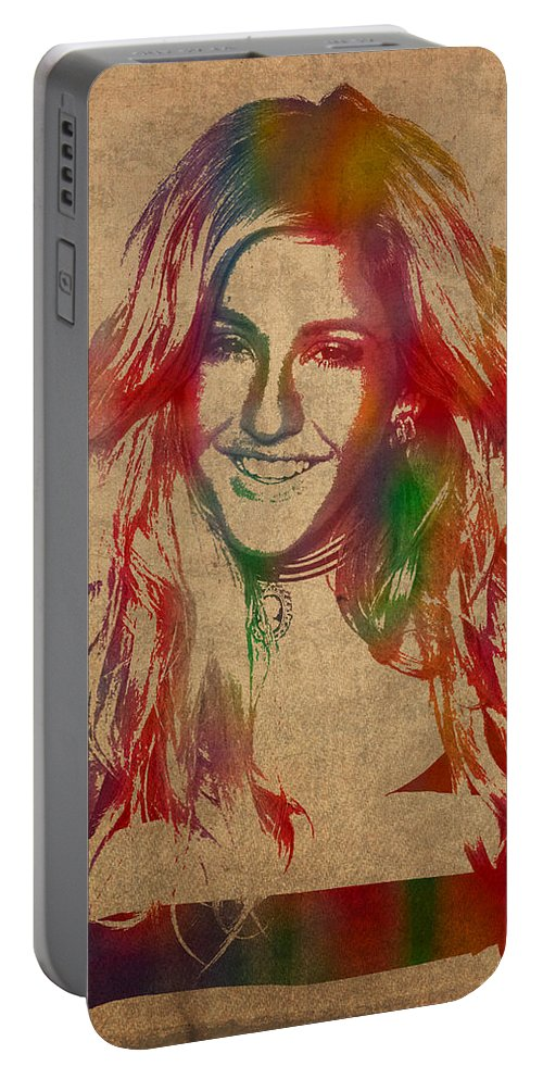 Ellie Goulding Portable Battery Charger featuring the mixed media Ellie Goulding Watercolor Portrait by Design Turnpike
