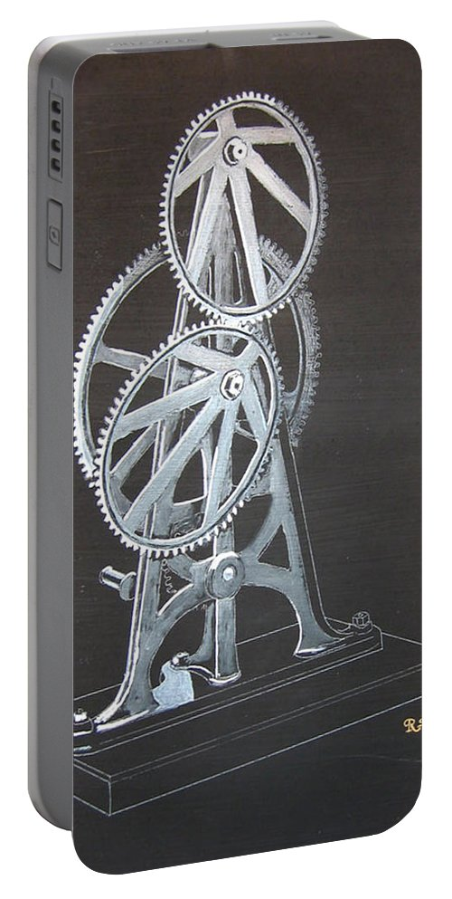 Elliptical Gears Portable Battery Charger featuring the painting Elliptical Gears by Richard Le Page
