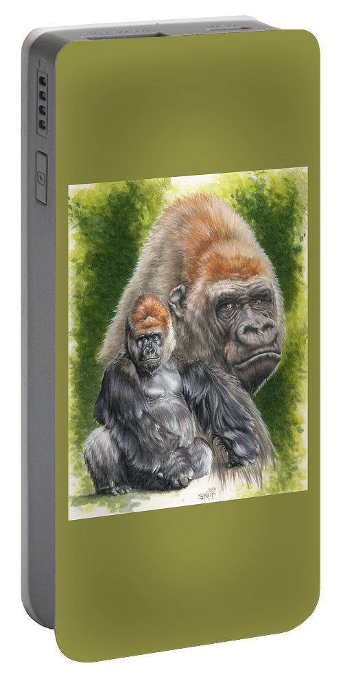 Gorilla Portable Battery Charger featuring the mixed media Eloquent by Barbara Keith