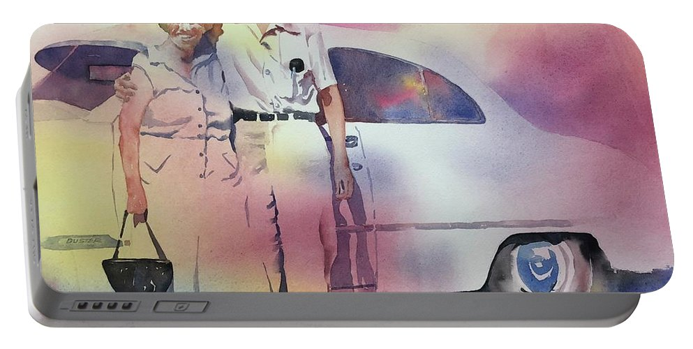 Portable Battery Charger featuring the painting Elsie And Barney Shields by Tara Moorman