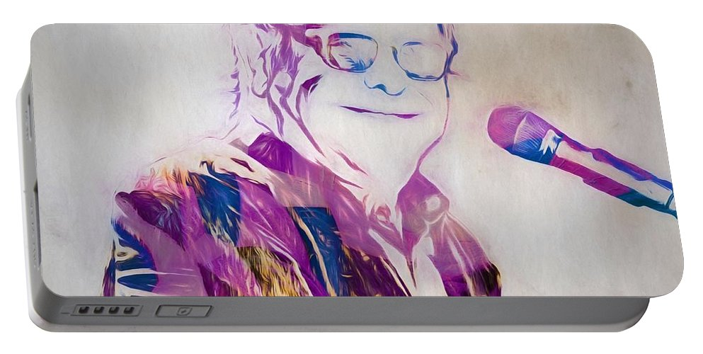 Elton John Portable Battery Charger featuring the painting Elton John by Dan Sproul