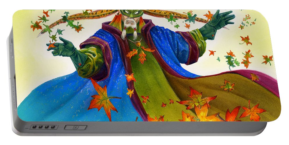 Elf Portable Battery Charger featuring the painting Elven Mage by Melissa A Benson