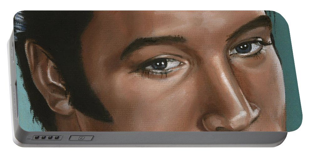 Elvis Portable Battery Charger featuring the painting Elvis 24 1968 by Rob De Vries
