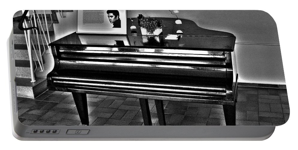Elvis Portable Battery Charger featuring the photograph Elvis And The Black Piano ... by Juergen Weiss