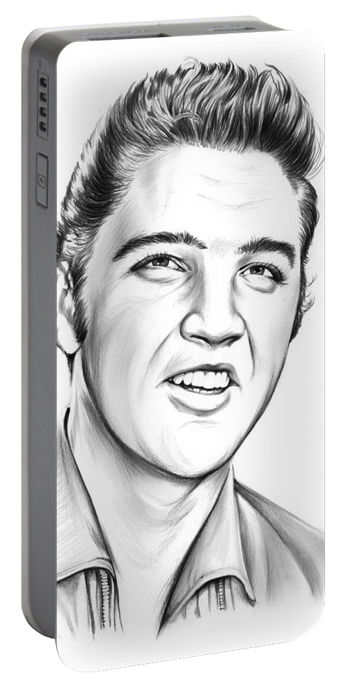 Elvis Portable Battery Charger featuring the drawing Elvis by Greg Joens