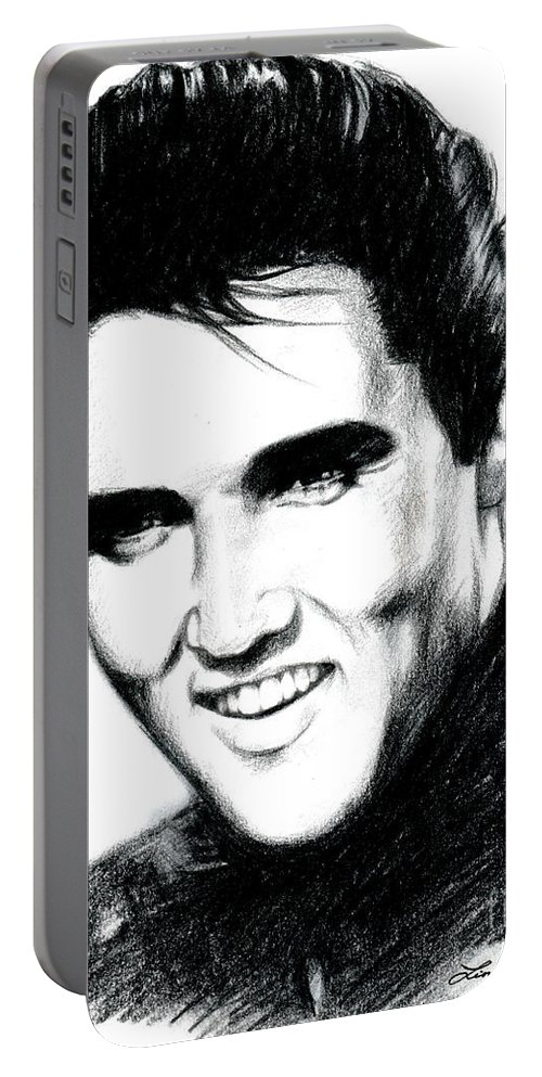 Elvis Portable Battery Charger featuring the drawing Elvis by Lin Petershagen