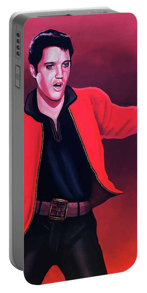 Elvis Portable Battery Charger featuring the painting Elvis Presley 4 Painting by Paul Meijering