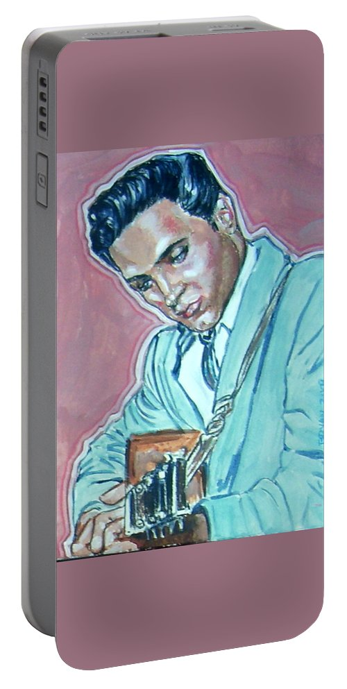 Elvis Presley Portable Battery Charger featuring the painting Elvis Presley by Bryan Bustard