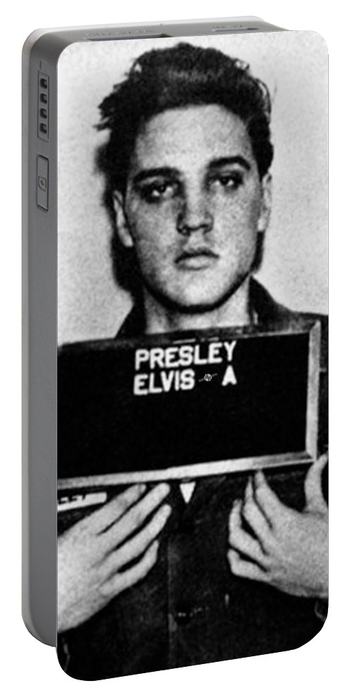 Elvis Presley Portable Battery Charger featuring the painting Elvis Presley Mug Shot Vertical 1 by Tony Rubino