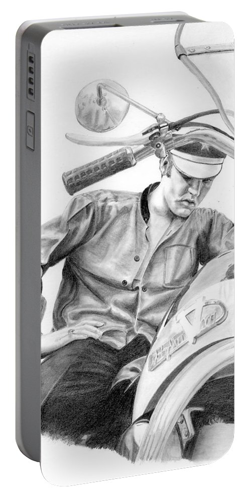 Singer Portable Battery Charger featuring the drawing Elvis Presley by Rob De Vries