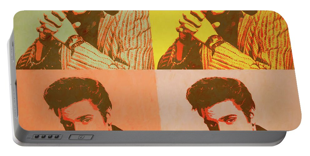 Elvis Retro Pop Art Portable Battery Charger featuring the painting Elvis Retro Pop Art by Dan Sproul