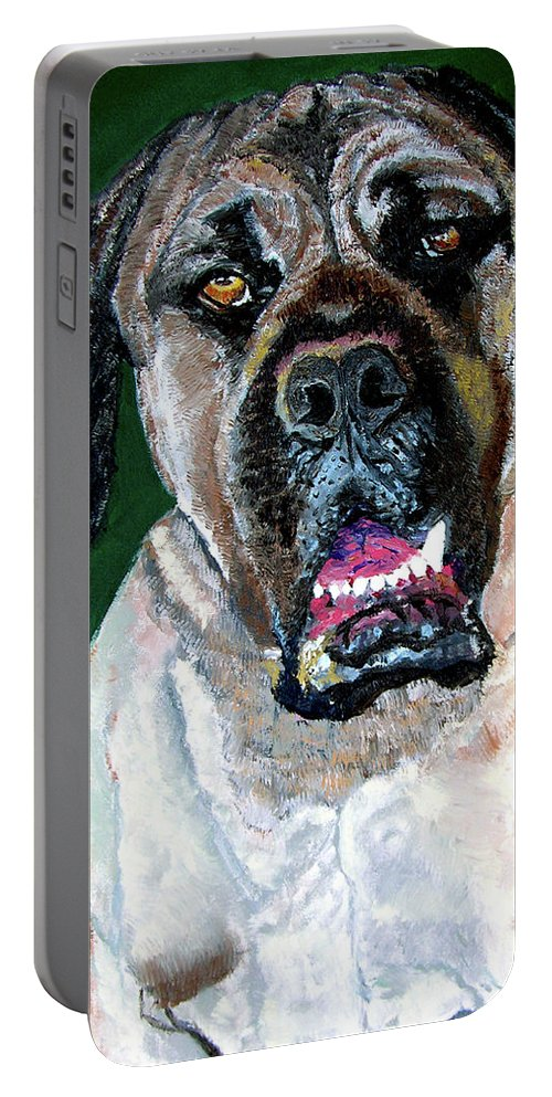 Dog Portrait Portable Battery Charger featuring the painting Ely by Stan Hamilton