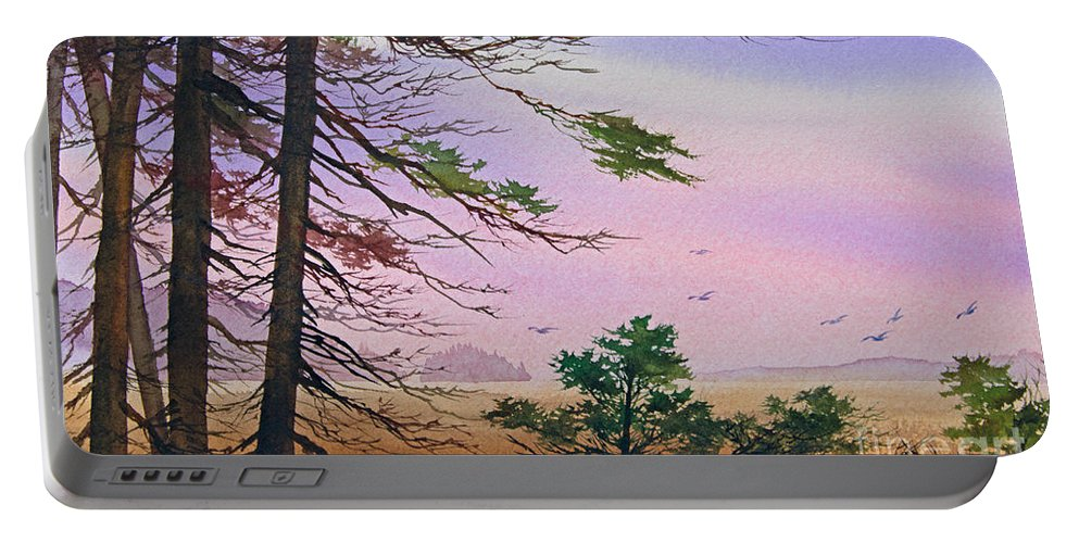 Embrace Print Portable Battery Charger featuring the painting Embrace Of Dawn by James Williamson