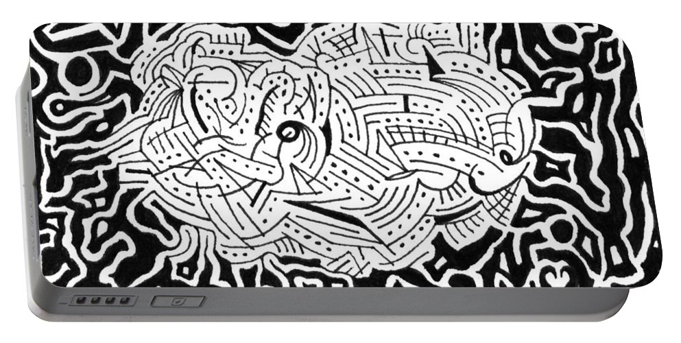Mazes Portable Battery Charger featuring the drawing Embryonic by Steven Natanson